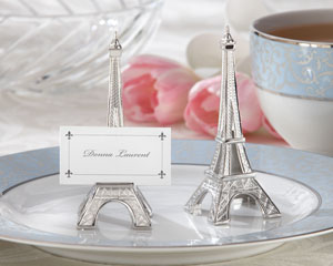 """Evening in Paris"" Eiffel Tower Silver-Finish Place Card/Holder (set of 4)"