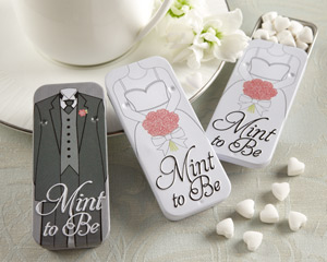 &quot;Mint to Be&quot; Bride and Groom Slide Mint Tins with Heart Mints