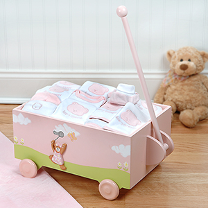&quot;Welcome to the World&quot; Pink Baby Wagon - Ten-Piece Gift Set