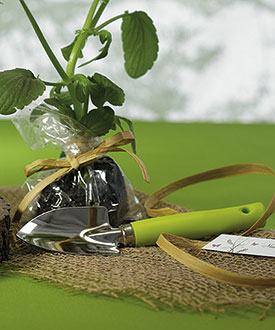 Miniature Garden Shovel with Grass Green Handle Wedding Favor