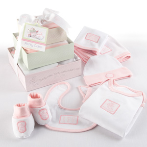 &quot;Patty Cake&quot; Six-Piece Layette Set in Keepsake Gift Box Tower