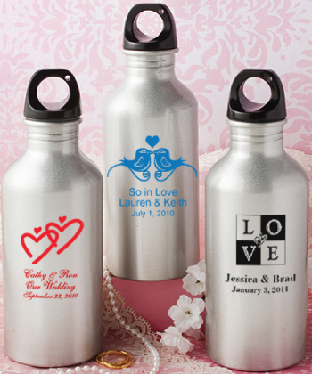 Personalized metal water bottle favors
