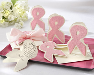 """In Favor of a Cure"" Pink Ribbon Plantable Wildflower Favors (Set of 12)"