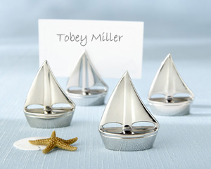 &quot;Shining Sails&quot; Silver Place Card Holders (Set of Four)