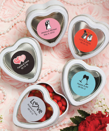 Personalized Expressions Collection white / silver heart shaped mint tins