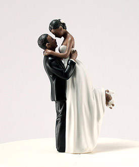 Black Romantic Wedding Cake Toppers