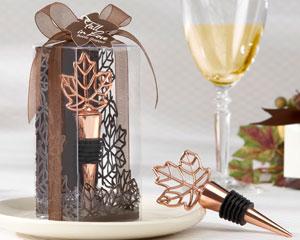 """""""Lustrous Leaf"""" Copper-Finish Bottle Stopper in Laser-Cut Leaf Gift Box"""