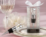 """LOVE"" Chrome Bottle Stopper-love themed wedding favors"