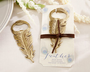 """Gilded Gold"" Feather Bottle Opener"