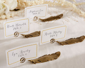 """""""Gilded Gold"""" Feather Place Card Holders (Set of 6)"""