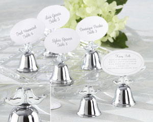 """Lovebirds"" Silver-Finish Kissing Bell Place Card Holder"