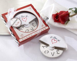 """A Slice of Love"" Stainless-Steel Pizza Cutter in Miniature Pizza Box-Italian wedding favors, practical wedding favors, wedding party favors, wedding shower favors, unique wedding favors"