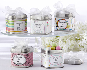 Unexpected Treasures Favor Tin with Pre-Tied Organza Bow - Set of 12-favor tins, kate aspen favor, unexpected treasures, customizable favor tins, beach wedding favor, square tin