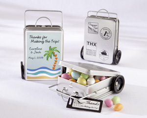 """Miles of Memories"" Suitcase Favor Tins with Optional Personalized Labels(Set of 12)-personalized wedding favors, wedding favor tins, edible wedding favors"