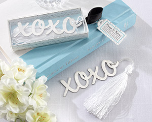"""Hugs & Kisses"" Silver-Finish Bookmark with Elegant White-Silk Tassel"