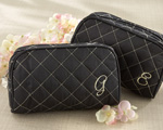 &quot;Cosmetic Couture&quot; Quilted Monogrammed Make-Up Bag
