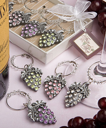 Glistening-grape-design wine charm sets