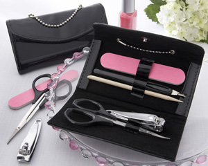 Little Black Purse Patent-Leather Five-Piece Manicure Set