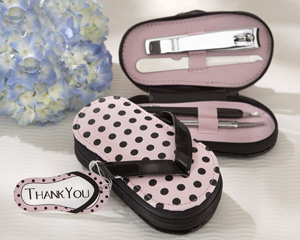 &quot;Pink Polka Flip Flop&quot; Five Piece Pedicure Set with Matching Tag