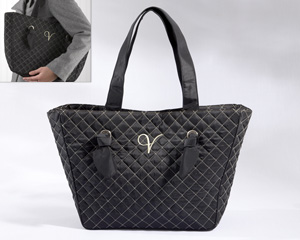 &quot;Knotted Couture&quot; Monogrammed Quilted Tote Bag