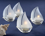 """Set Sail"" Frosted Glass Sailboat Tealight Holders - Set of 4"