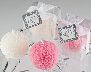 Rose Ball Candle in Gift Box with Free Personalized Tag-Rose Ball Candle Favor