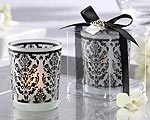 Damask Traditions Frosted Glass Tea Light Holder with Kate Aspen Signature Charm ( Set of 4 )