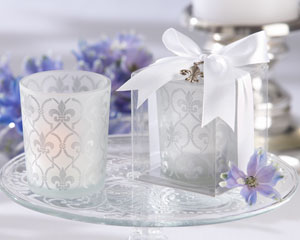 """Fleur-de-lis"" Frosted-Glass Tea Light Holder (set of 4)-wedding candle holders, kate aspen wedding tea light candle holders"