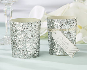 """SPARKLE AND SHINE"" SILVER GLITTER VOTIVE (SET OF 4)"