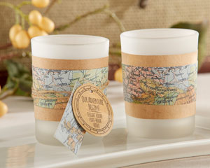 """OUR ADVENTURE BEGINS"" VINTAGE MAP TEALIGHT HOLDER (SET OF 4)"