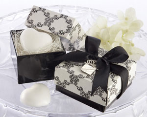 """Sweet Heart"" Heart-Shaped Scented Soap with Kate Aspen Signature Charm-soap wedding favors, Black and white wedding favors, Kate Aspen wedding favors, elegant / classic favors"