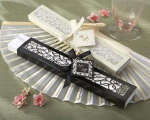 Luxurious Silk Fan in Elegant, Laser-Cut Gift Box (Black or Ivory, Set of 4)
