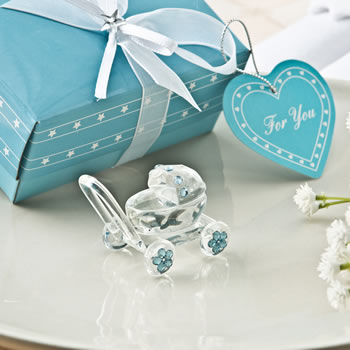 CHOICE CRYSTAL COLLECTION CLEAR CRYSTAL GLASS BABY CARRIAGE WITH BLUE CRYSTAL DESIGN ACCENTS