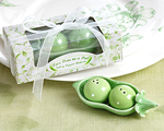 """Two Peas in a Pod"" - Ceramic Salt & Pepper Shakers in Ivy Print Gift Box-salt and pepper shaker, green wedding favor, two peas in a pod, ivy gift box, charming favor, practical gifts"