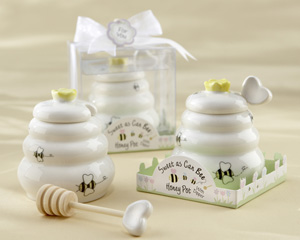 """Sweet As Can Bee"" Ceramic Honey Pot with Wooden Dipper"