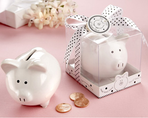 Li l Saver Favor Ceramic Mini-Piggy Bank in Gift Box with Polka-Dot Bow