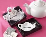 """Swee-Tea"" Ceramic Tea-Bag Caddy in Black & White Serving-Tray Gift Box"