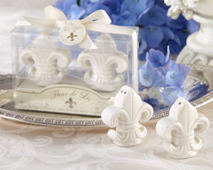 Fleur-de-Lis Ceramic Salt & Pepper Shakers