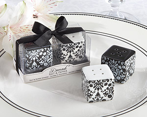 """Damask"" Ceramic Salt & Pepper Shakers"