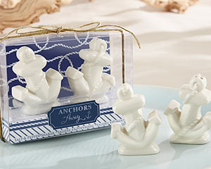 "S""ANCHORS AWAY"" CERAMIC SALT AND PEPPER SHAKERS"
