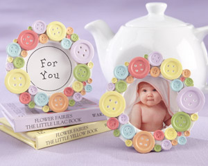 Cute as a Button Round Photo Frame