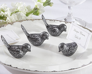 Antiqued Bird Place Card Holder (Set of 4)
