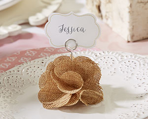 BURLAP ROSE PLACE CARD HOLDER (SET OF 6)