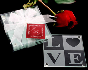 LOVE Glass Coaster Gift Set with FREE Personalized Tags
