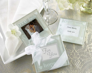 Good Wishes Pearlized Photo Coasters-wine wedding favors,placecards, reception card, place card holders, card place holders, wedding table names, placecard holders, wedding table numbers, place card holder, wedding table number ideas, wedding table cards