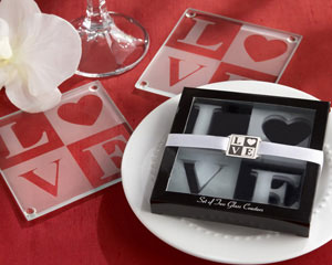 LOVE Frosted-Glass Coasters in Elegant Gift Box with Matching Charm