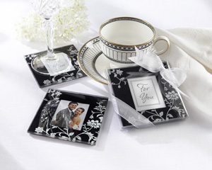 Timeless Traditions Elegant Black White Glass Photo Coasters-Elegant wedding favors, card holders,Black White wedding table decoration ideas