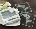 """Calla Lilies"" Frosted-Glass Coasters in Floral-Inspired Gift Box-Calla Lilies favor ideas, spring wedding favor, bridal shower ideas, bridal shower wedding favors, wedding shower favors, bridal shower gifts, bridal shower decorations, shower favors"