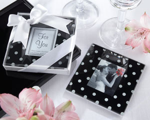 Mod Dots Black and White Polka Dot Photo Coaster-Black and White wedding favors,placecards, reception card, place card holders, card place holders, wedding table names, placecard holders, wedding table numbers, place card holder, wedding table number ideas, wedding table cards