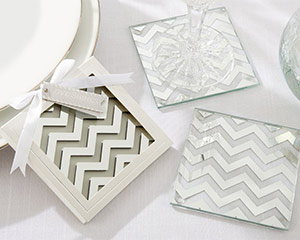"""Shimmer and Shine"" Silver Chevron Coasters"